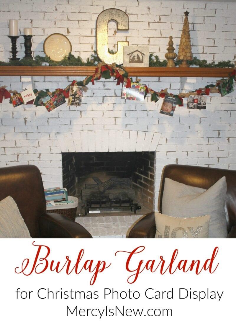 Burlap Garland Christmas Photo Display