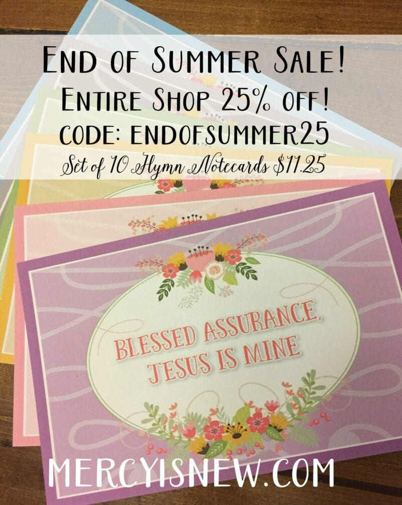 End of Summer Sale Hymn Cards