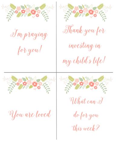 Free printable teacher notes