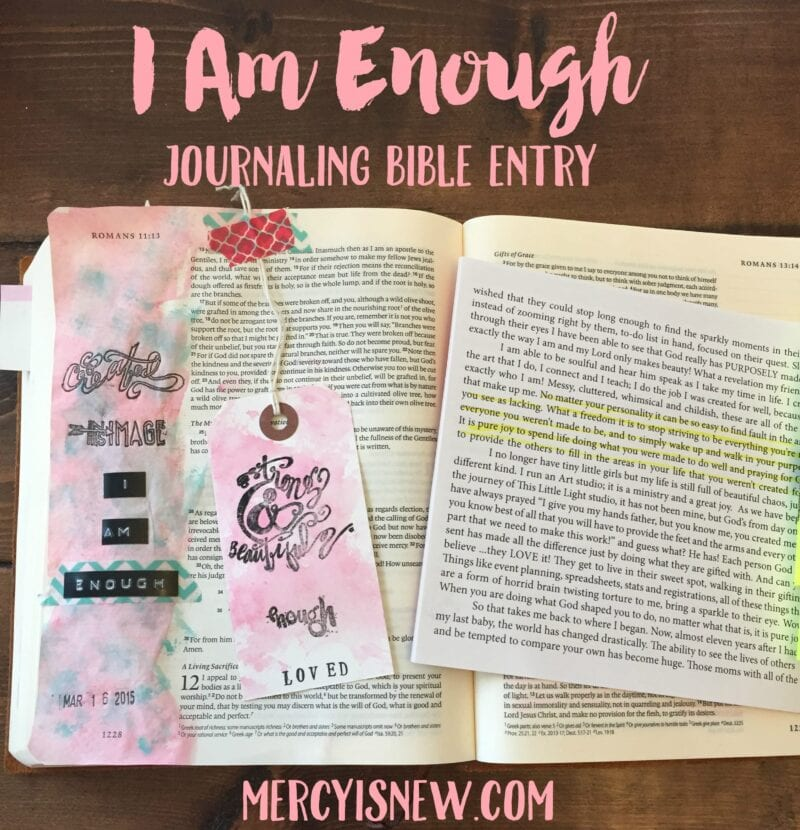 I Am Enough Journaling Bible entry