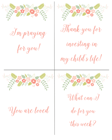 Free printable teacher notes
