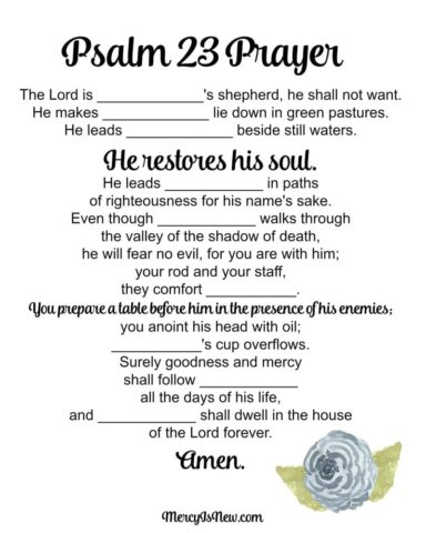 Psalm 23 Prayer boy