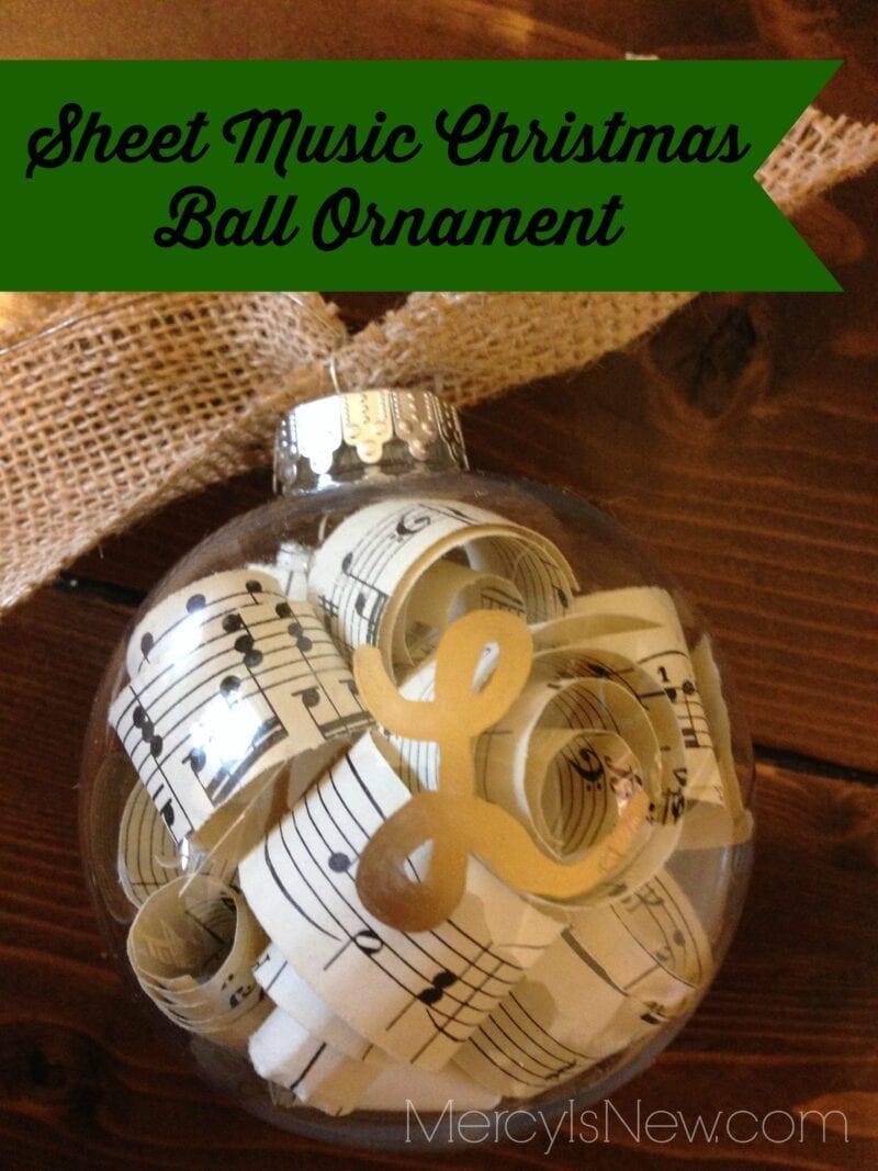 Sheet Music Christmas Ball Ornament